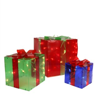 3 Piece Lighted Gift Box Present Christmas Decoration Set  sc 1 st  Wayfair : red box gift - princetonregatta.org