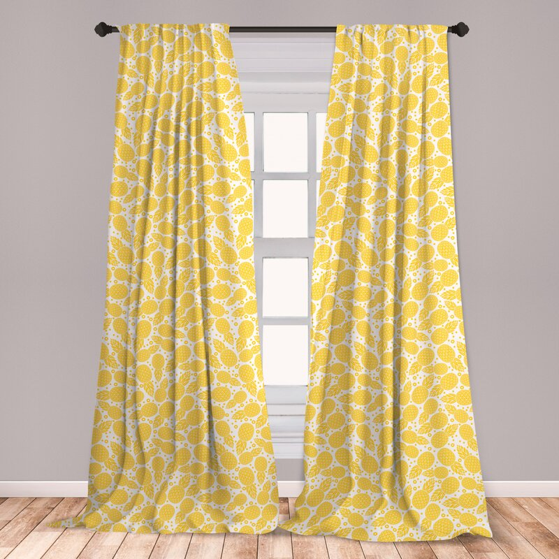 East Urban Home Bobrow Tropical Exotic Pineapple Fruit Room Darkening Rod Pocket Curtain Panels Wayfair