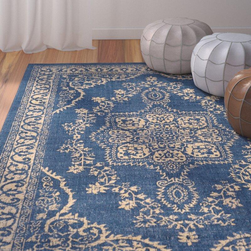 Randhir Floral Blue Tan Area Rug
