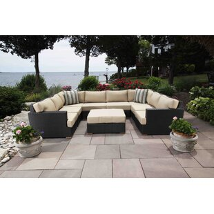 Salina 8 Piece Rattan Sectional Seating Group with Cushions