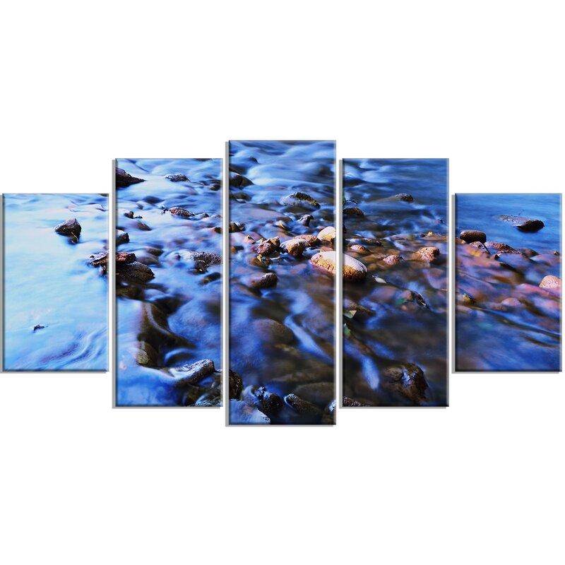 Designart Rock Blue River Panorama 5 Piece Wall Art On Wrapped Canvas Set Wayfair