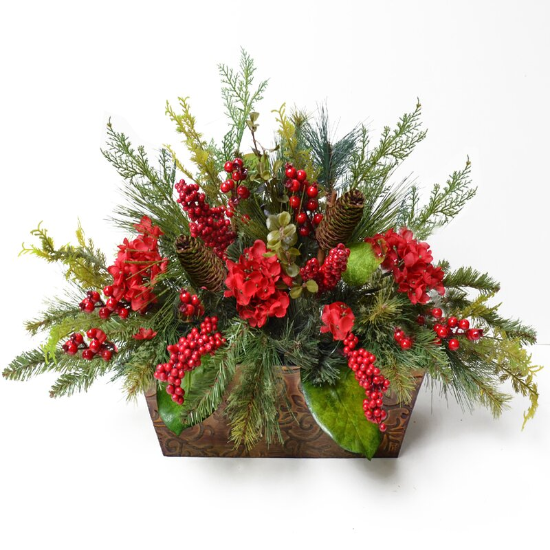 Pine and Berry Christmas Floral Arrangement