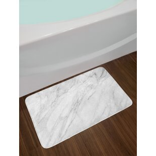 Stained White Pale Gray Marble Bath Rug