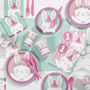 Mckee Bunny Party 1st Birthday Paper/Plastic Party Supplies Kit