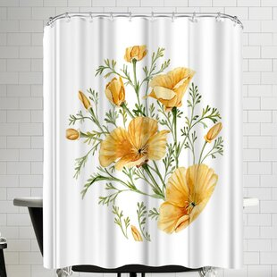 California Poppies Single Shower Curtain