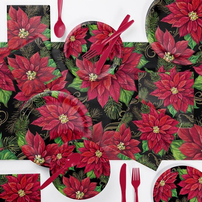Creative Converting Posh Poinsettia Banquet Plates 8 Count
