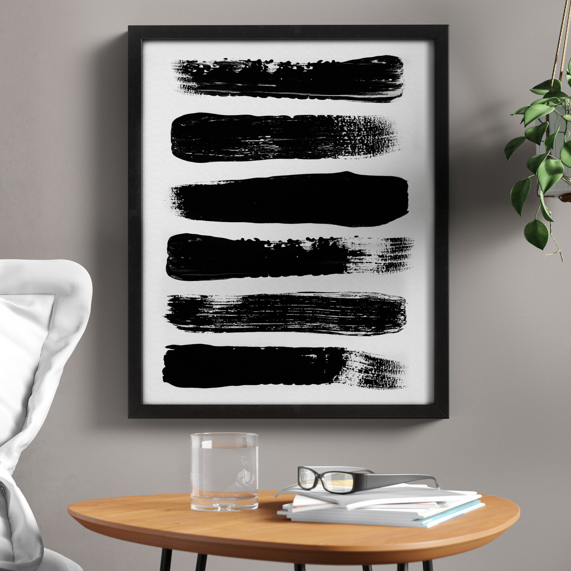 Zipcode Design Paint Strokes Black And White Abstract Picture Frame Graphic Art Print On Canvas Reviews Wayfair