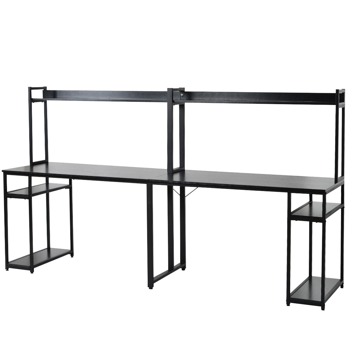 Inbox Zero Home Office Double Workstation Desk Two Person Computer Desk With Storage Spacious Tabletop Multifunction Writing Desk With Shelf Black Wayfair Ca