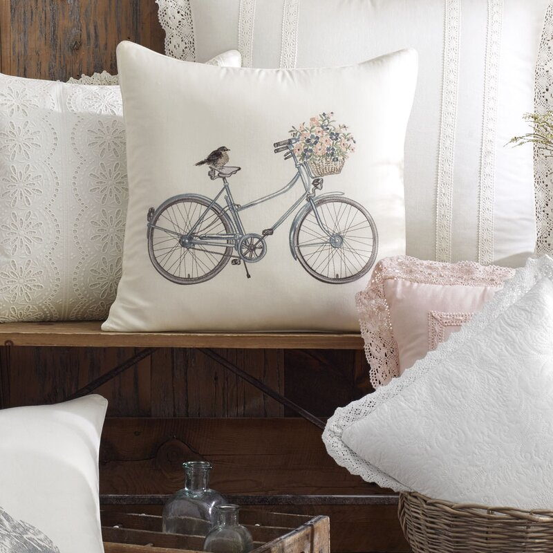 Bicycle 100% Cotton Throw Pillow