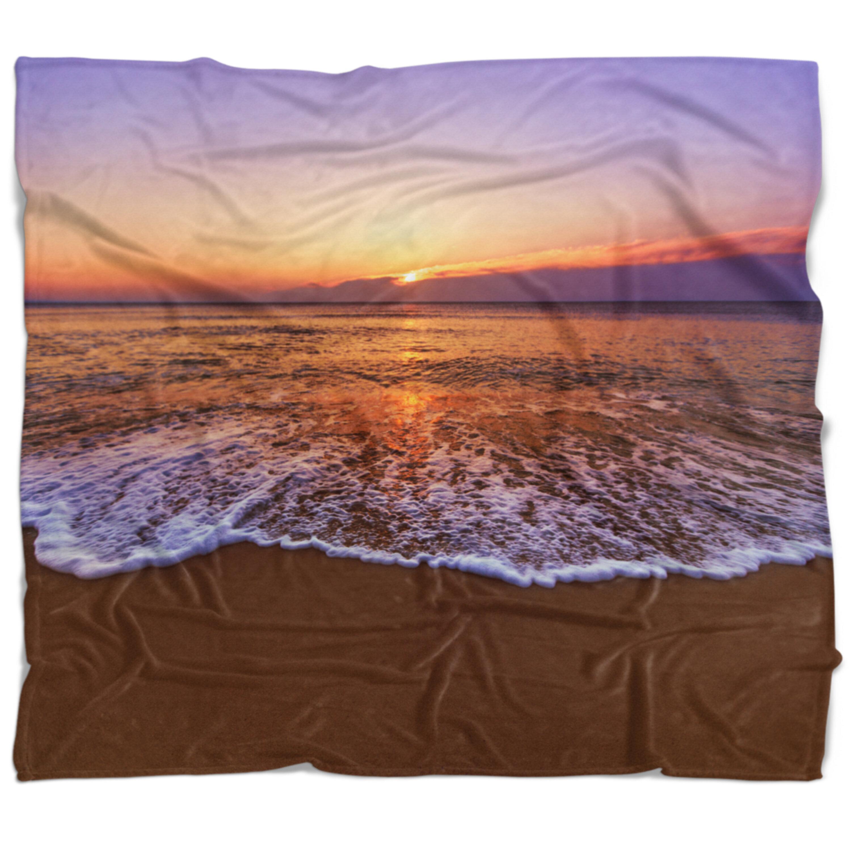 East Urban Home Beach Photo Tinged Sea Waters At Sunset Blanket Wayfair