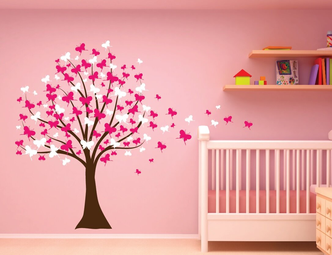 Innovative Stencils Erfly Cherry Blossom Tree Baby Nursery Wall Decal Wayfair
