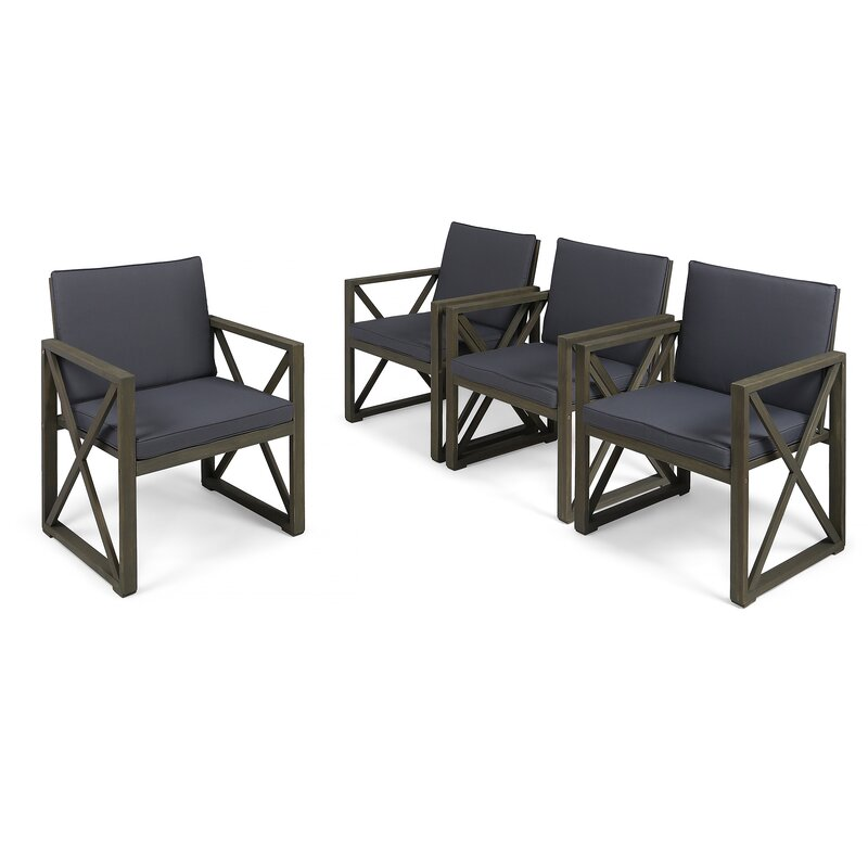 Highland Dunes  Anneke Patio Chair with Cushions Cushion Color: Dark Gray, Frame Color: Gray