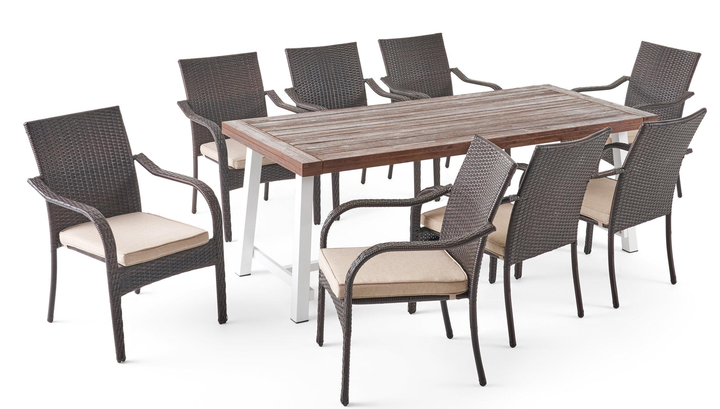 Winston Porter Sydenham Outdoor 9 Piece Dining Set With Cushions Wayfair