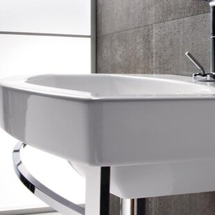 Losagna Ceramic 24 Wall Mount Bathroom Sink with Overflow GSI Collection