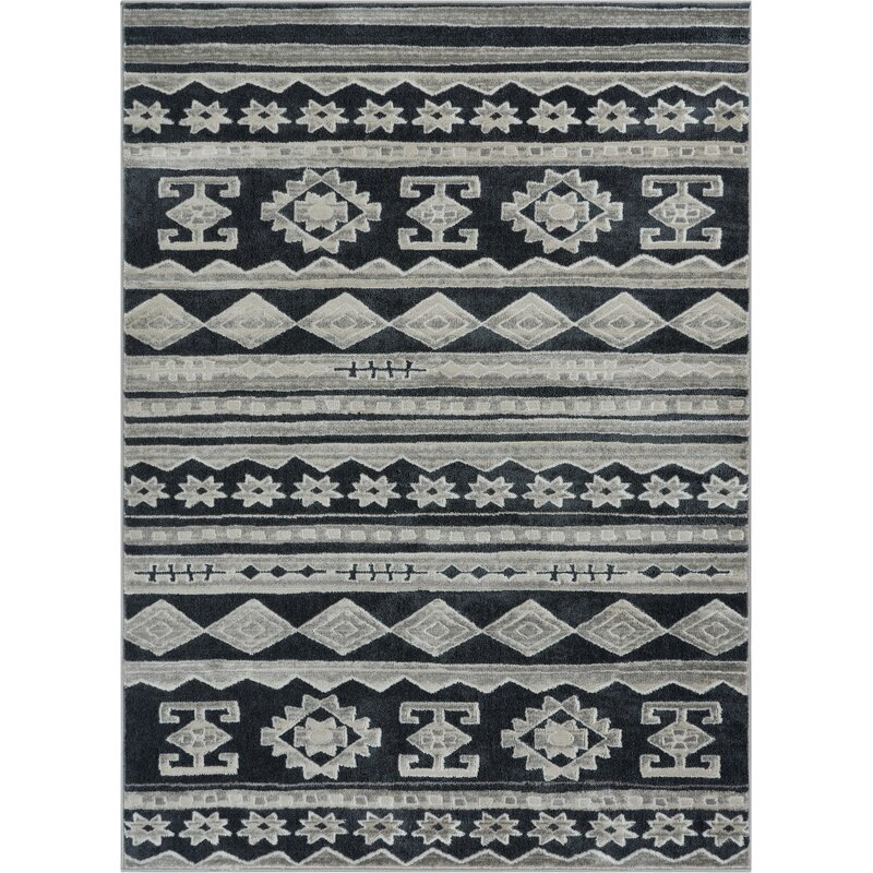 Union Rustic Manzi Power Loom Dark Gray Ivory Rug Reviews Wayfair