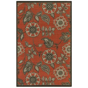 Deck Floral Vine Orange Indoor/Outdoor Area Rug