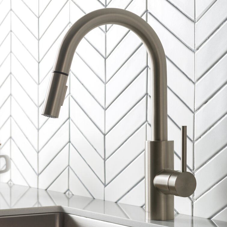 Kraus Oletto Pull Down Single Handle Kitchen Faucet Reviews Wayfair