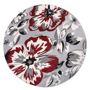 Ericson Floral Circles Red/Gray Area Rug by Andover Mills