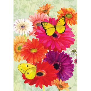 Gerberas and Butterflies 2-Sided Polyester 18 x 12 in. Garden Flag