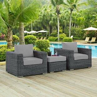 Alaia 3 Piece Rattan Sunbrella 2 Person Seating Group with Cushions By Brayden Studio