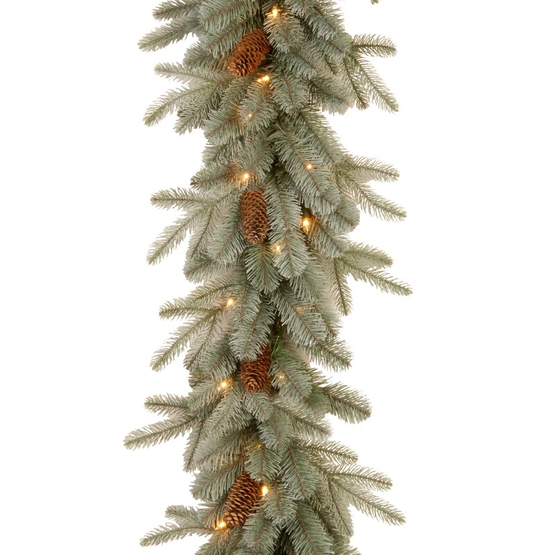 9ft. Artificial Frosted Arctic Spruce Garland with Lights