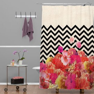 Bianca Green Chevron Flora 2 Single Shower Curtain