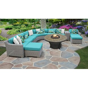 Coast 11 Piece Outdoor Sectional Seating Group With Cushions by TK Classics Best