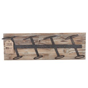 Farmhouse 4 Bottle Wall Mounted Wine Rack by Twine