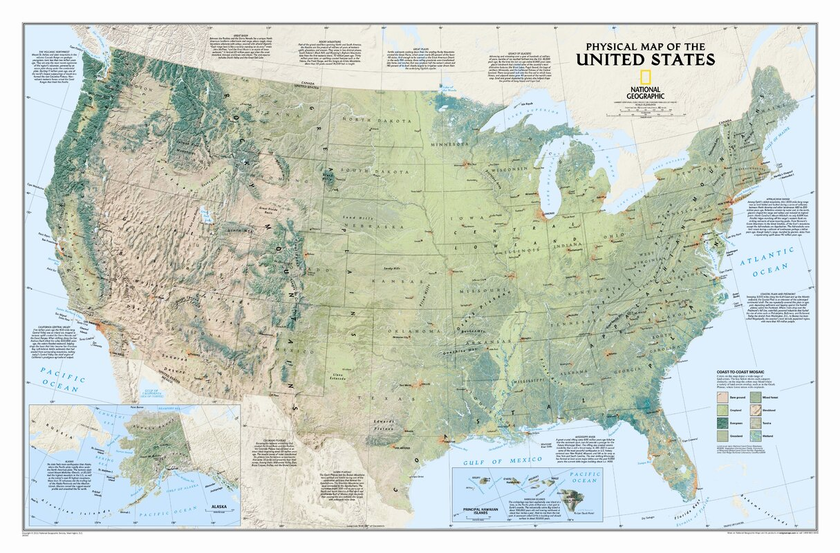 National Geographic Maps United States Physical Wall Map Reviews - Physiographic map of the united states