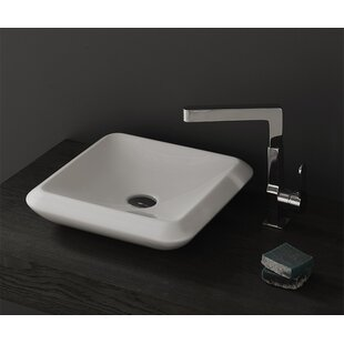 Online Reviews More Ceramic Square Vessel Bathroom Sink with Overflow By CeraStyle by Nameeks