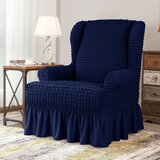 Ruffle Skirt Country Style T-Cushion Wingback Slipcover by Canora Grey
