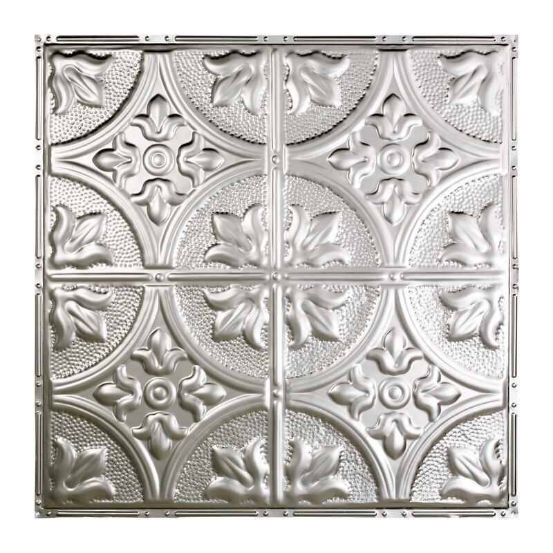 Greatlakestin Jamestown 2 04 Ft X 2 04 Ft Nail Up Tin Ceiling Tile In Silver Wayfair