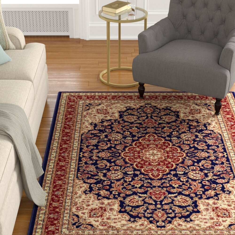 Charlton Home Ceniceros Oriental Navy Blue Red Beige Rug Reviews Wayfair