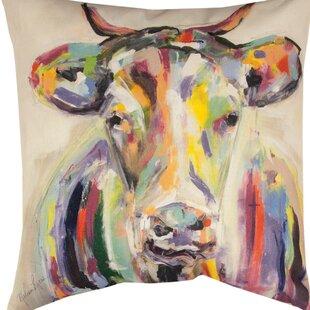 Artsy Cow Throw Pillow