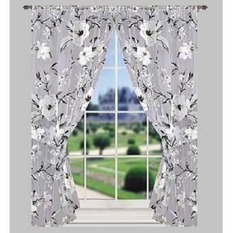 Ophelia Co Garfield Bath Window Floral Flower Rod Pocket Sheer Curtain Panels Reviews Wayfair