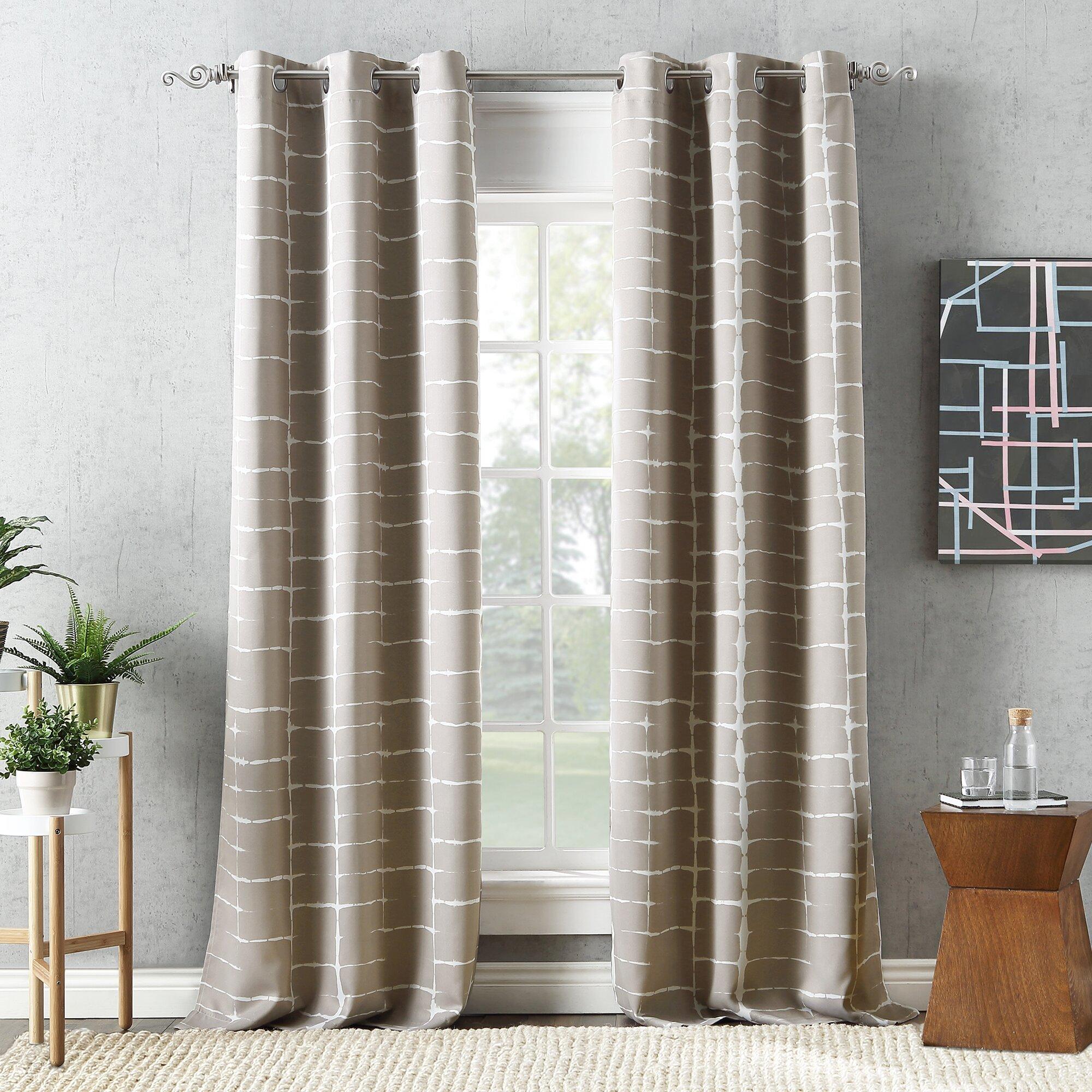 Wacker Shibori Print Striped Blackout Thermal Grommet Single Curtain Panel