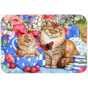 Blue Cats Glass Cutting Board