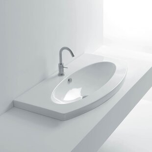 Comparison Ago Ceramic Oval Drop-In Bathroom Sink with Overflow ByWS Bath Collections