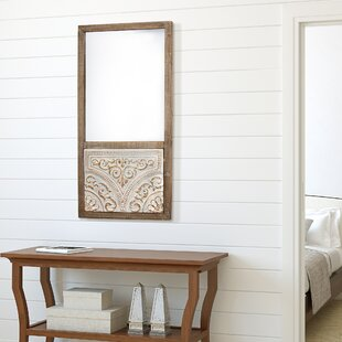 Top Reviews Barnhill Rustic Wood and Embossed Metal Wall Mirror By Bungalow Rose