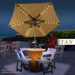 Beamer Solar Light Patio 6.5' Cantilever Umbrella