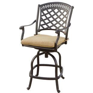 Lenahan Patio Swivel Bar Stool with Cushion (Set of 6) (Set of 6)