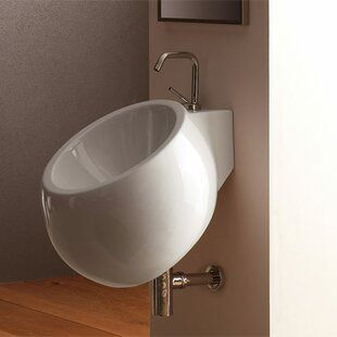 Find a Planet Ceramic 18 Wall Mount Bathroom Sink with Overflow By Scarabeo by Nameeks