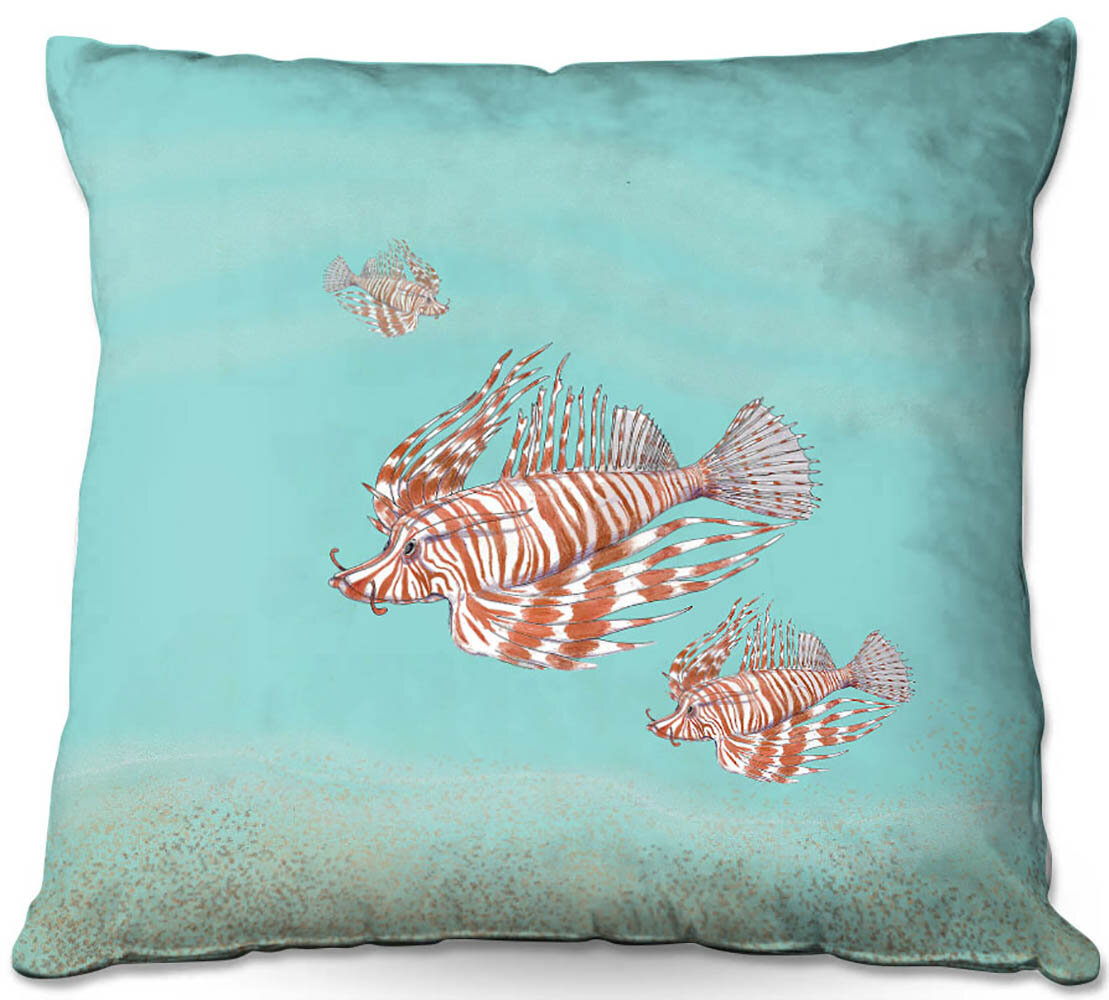 Couch Lion Fish Family Throw Pillow