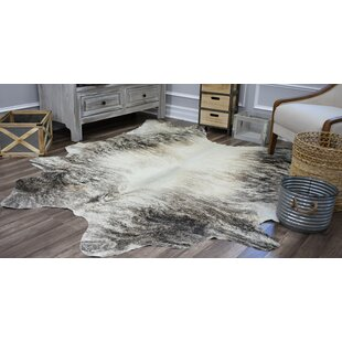 Great choice Sarah Hand-Woven Cowhide Gray/White Area Rug By Millwood Pines
