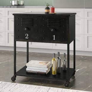 Alastor Rolling Cart Table with 2 Drawers Trent Austin Design