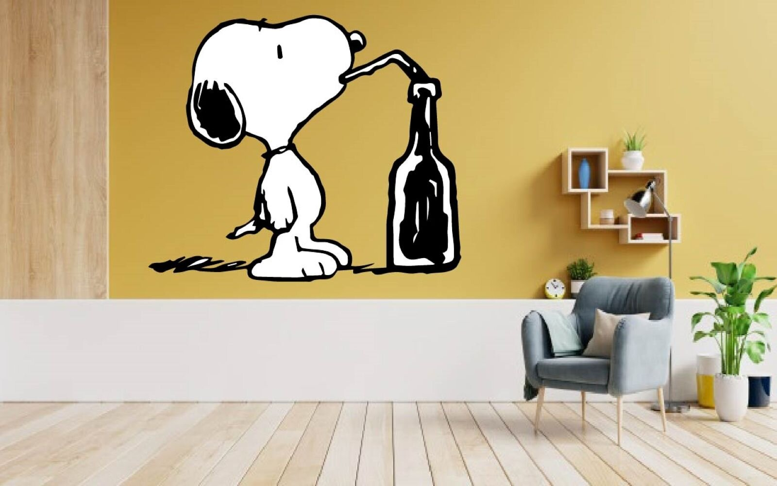 Design With Vinyl Snoopy Drinking Dog Peanuts Vinyl Wall Decal Wayfair