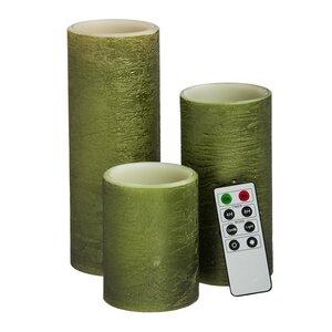 3 Piece Flameless Wax Pillar Candle Set