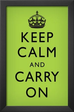 'Keep Calm and Carry On' Framed Textual Art in Faded Green