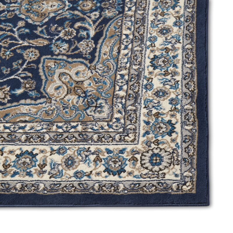 Arend Oriental Navy Blue White Area Rug