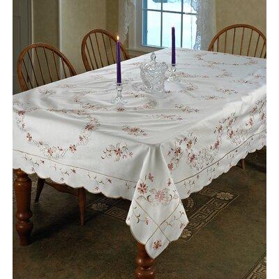 """Leffler Tablecloth Size: 52"""" W x 70"""" L, Color: White"""